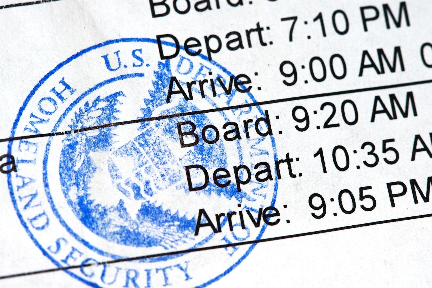 Airline boarding pass with public seal of Homeland Security. (Shutterstock)