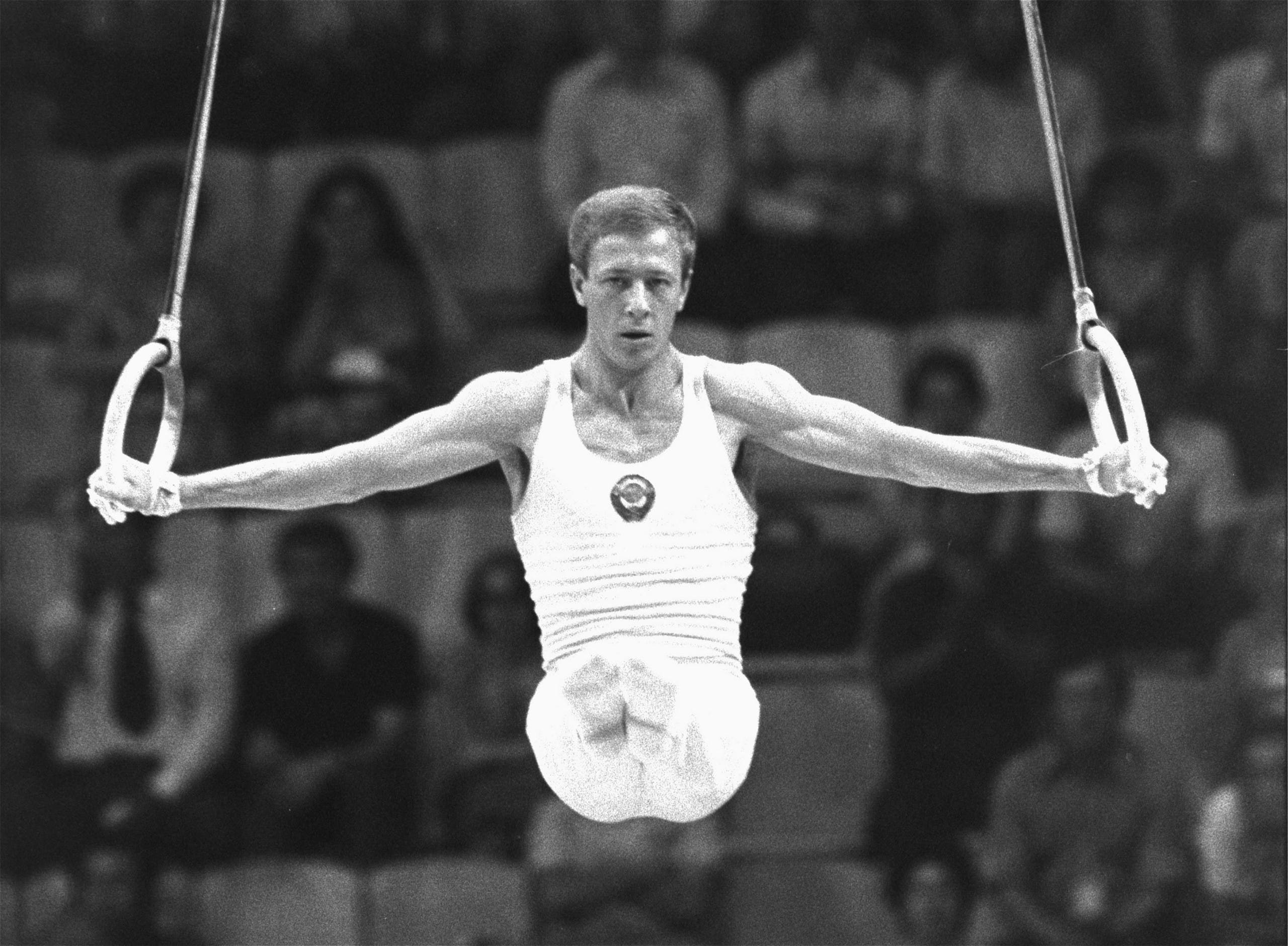 Nikolai Andrianov of the Soviet Union works with the rings in men's gymnastics in Moscow Olympics Thursday evening July 24, 1980. Andrianov captured the silver medal in the event as the gold was won by teammate Alexandr Distyatin. (AP)