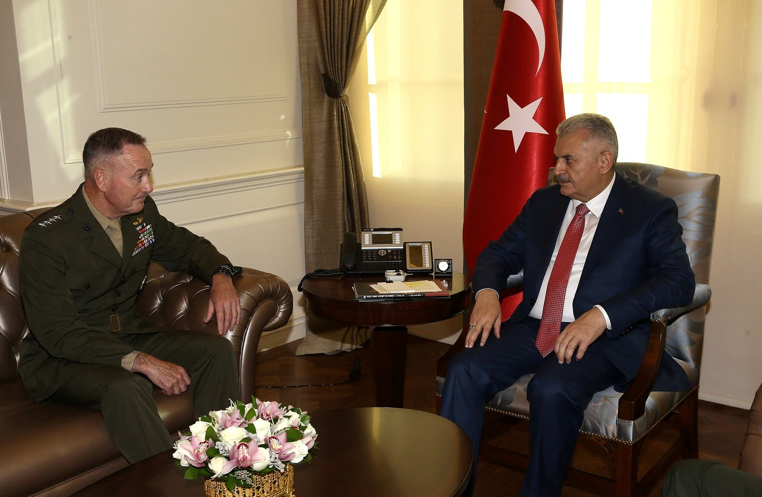 Turkish Prime Minister Yildirim meets with U.S. Joint Chiefs of Staff General Dunford in Ankara. (Reuters)