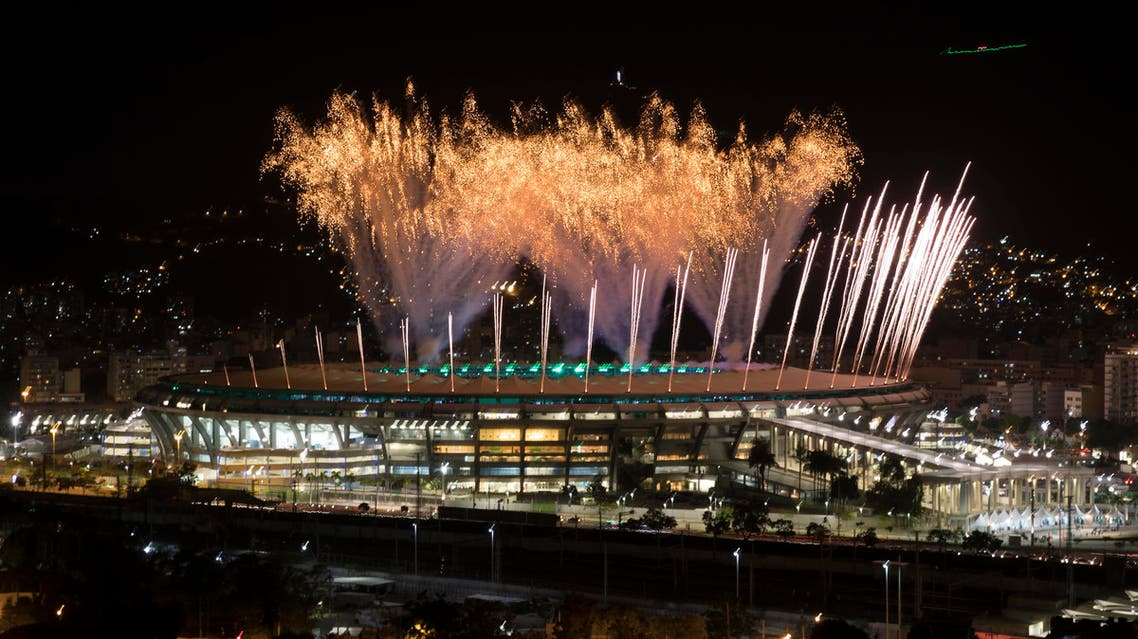 Fireworks explode above the Maracana stadium during the rehearsal of the opening ceremony of the Olympic Games in Rio de Janeiro, Brazil, Sunday, July 31, 2016. (AP)