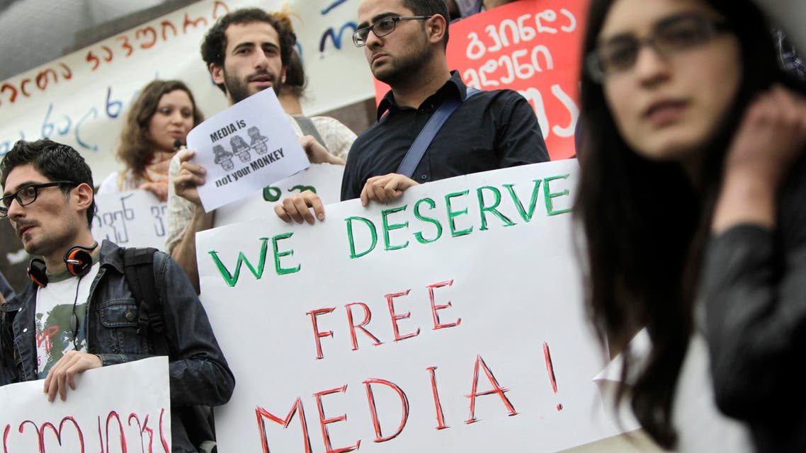 People attend a rally to mark World Press Freedom Day in Tbilisi, May 3, 2012. World Press Freedom Day was proclaimed by the UN General Assembly in December 1993. REUTERS/