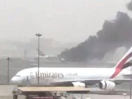 طائرة الإمارات عقب هبوطها