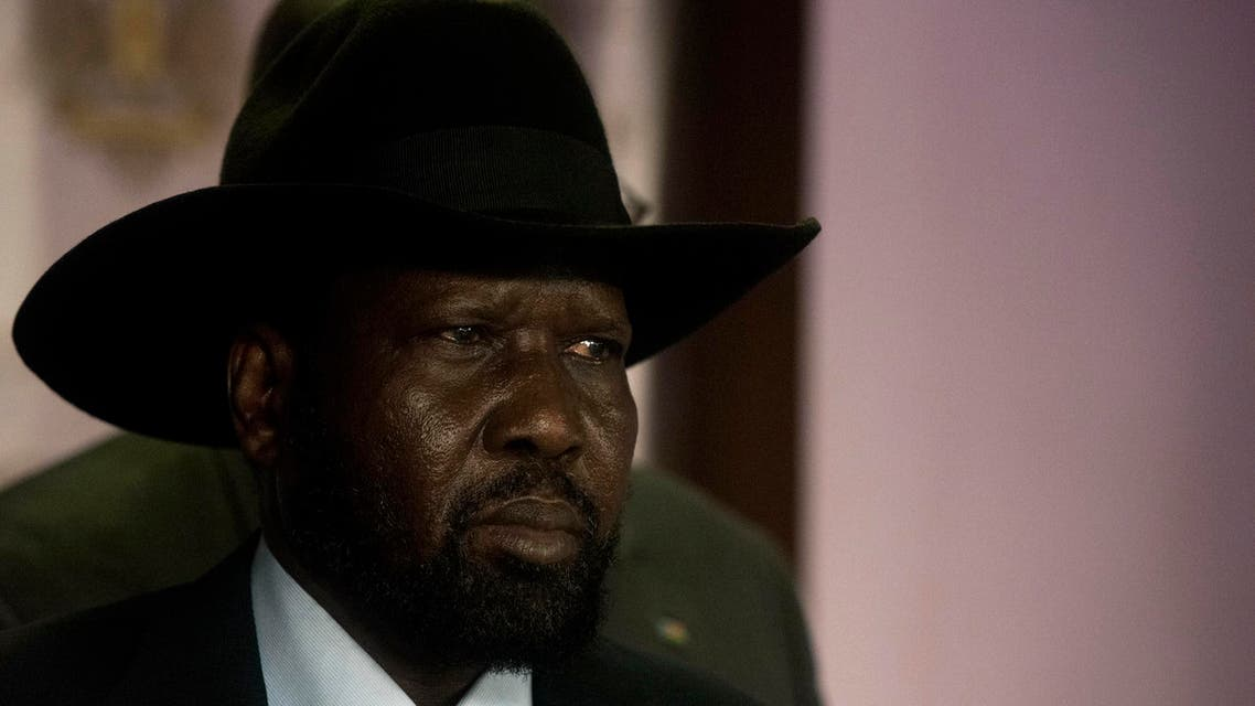 South Sudan President Salva Kiir looks on during a press conference prior to the shooting outside the presidential palace in Juba on July 8, 2016. (AFP)