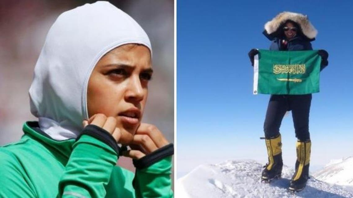 Sara Al-Attar will again compete for Saudi Arabia at the Olympics (L) after making her debut at the Games in London in 2012 Raha Moharrak has become the first Saudi woman to climb six mountain summits. (Reuters/ Saudi Gazette)