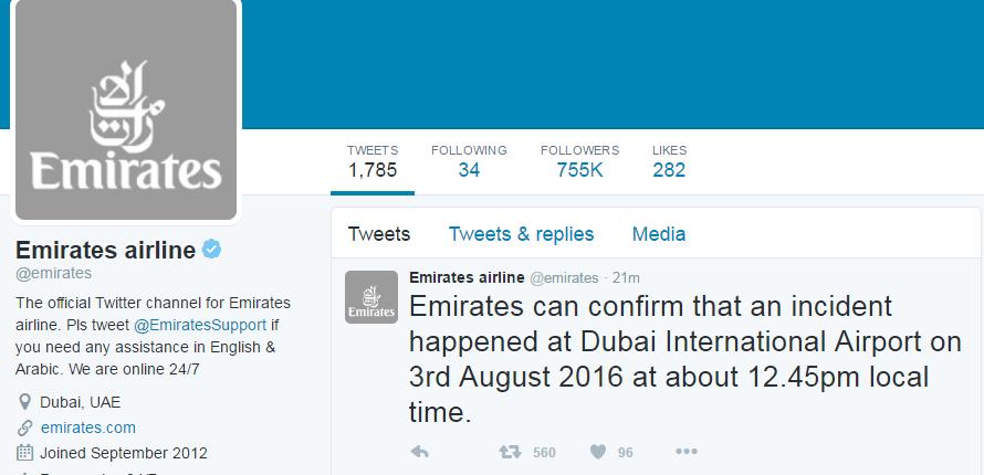 تغريدة طيران الإمارات