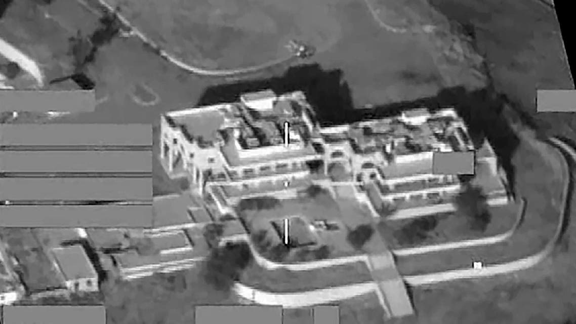 A handout screen grab image obtained in London on August 3, 2016, from Britain's Ministry of Defence, shows a palace built by former Iraqi dictator Saddam Hussein in Mosul, northern Iraq, shortly before it was bombed by UK and coalition forces. (AFP)