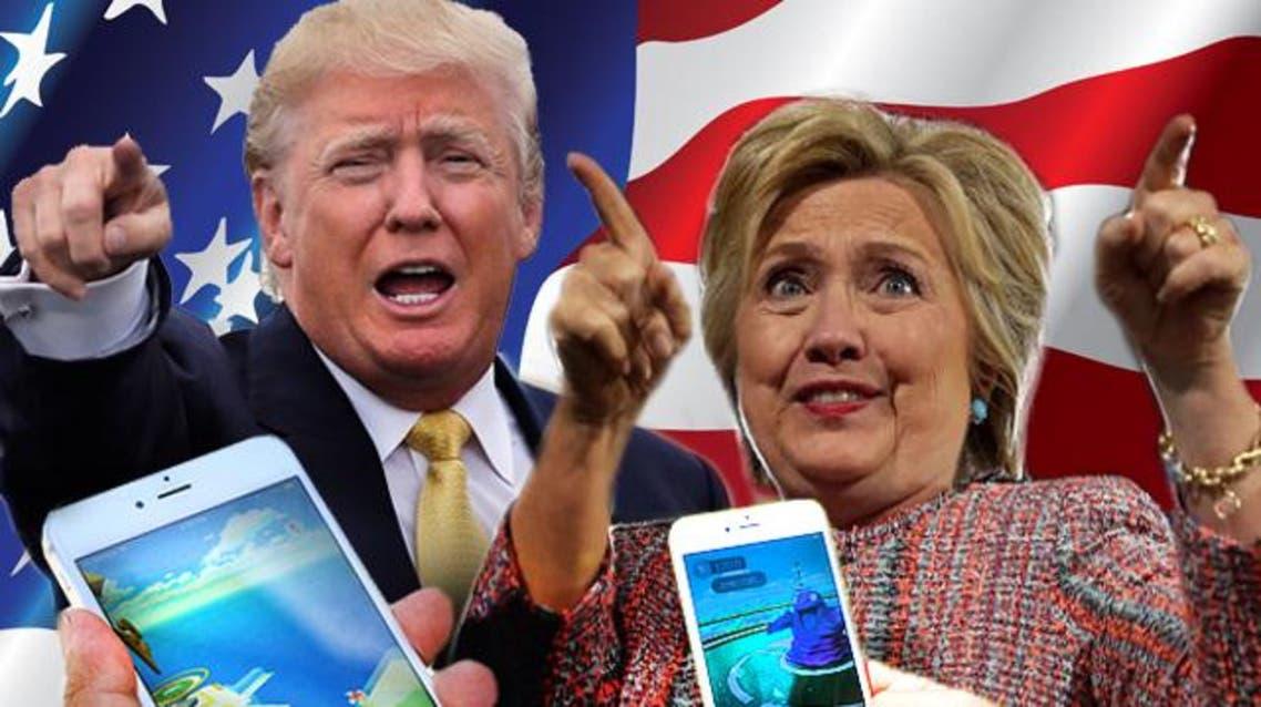 انصار كلينتون و ترامب يستعملون لعبة بوكيمون