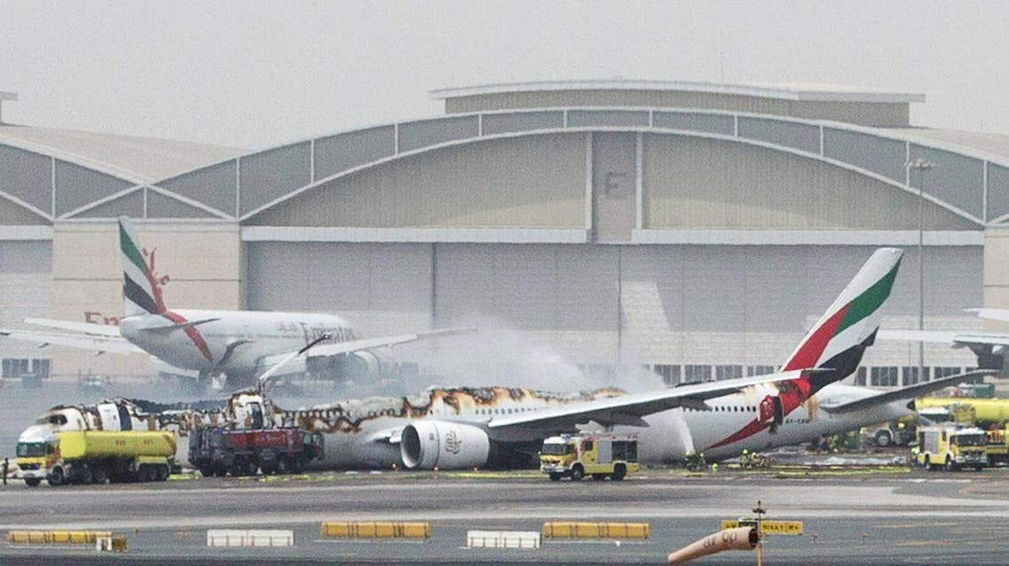 Emirates Airline flight is seen after it crash-landed at Dubai International Airport. (Reuters)