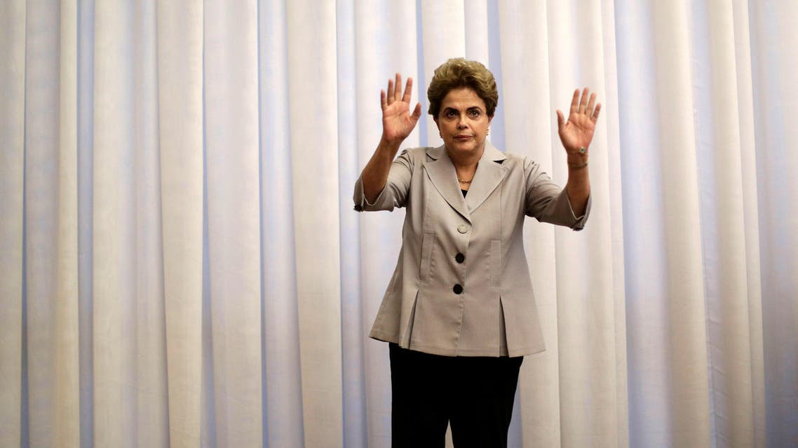 Suspended Brazilian President Dilma Rousseff gestures during a news conference with foreign media in Brasilia, Brazil, June 14, 2016. REUTERS