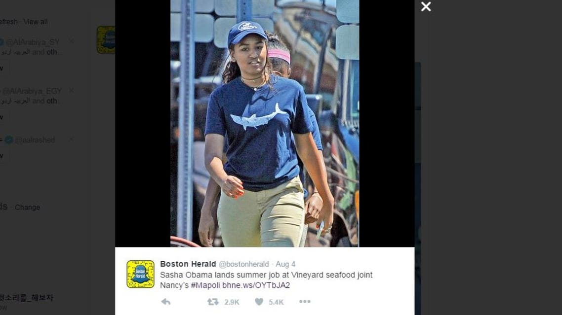 The youngest Obama is currently working at Nancy's restaurant on Martha's Vineyard, a hot spot owned by Arab-Americans. (Photo screenshot of Boston Herald Twitter account)