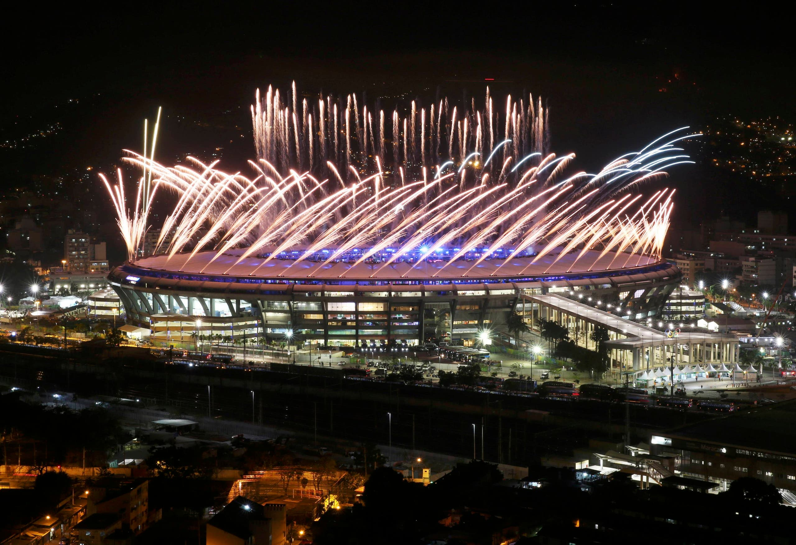 Fireworks over the Maracana stadium. REUTERS