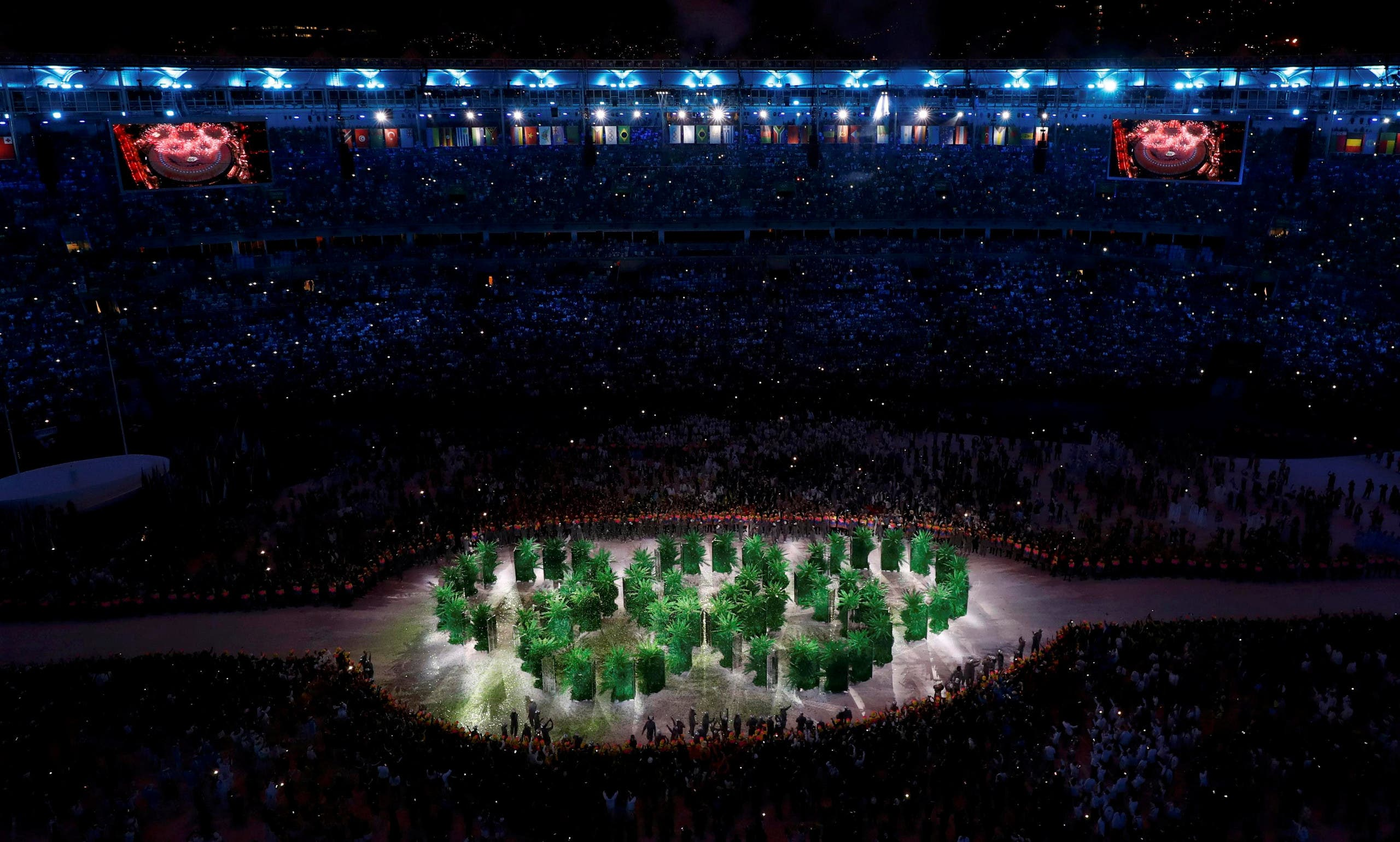 he Olympic rings are seen during the opening ceremony. REUTERS