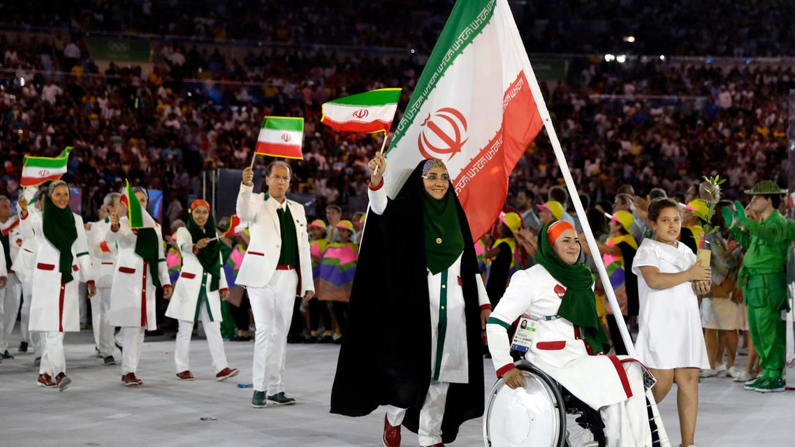 Team Iran arrives during the opening ceremony for the 2016 Summer Olympics in Rio de Janeiro, Brazil, Friday, Aug. 5, 2016. (AP)