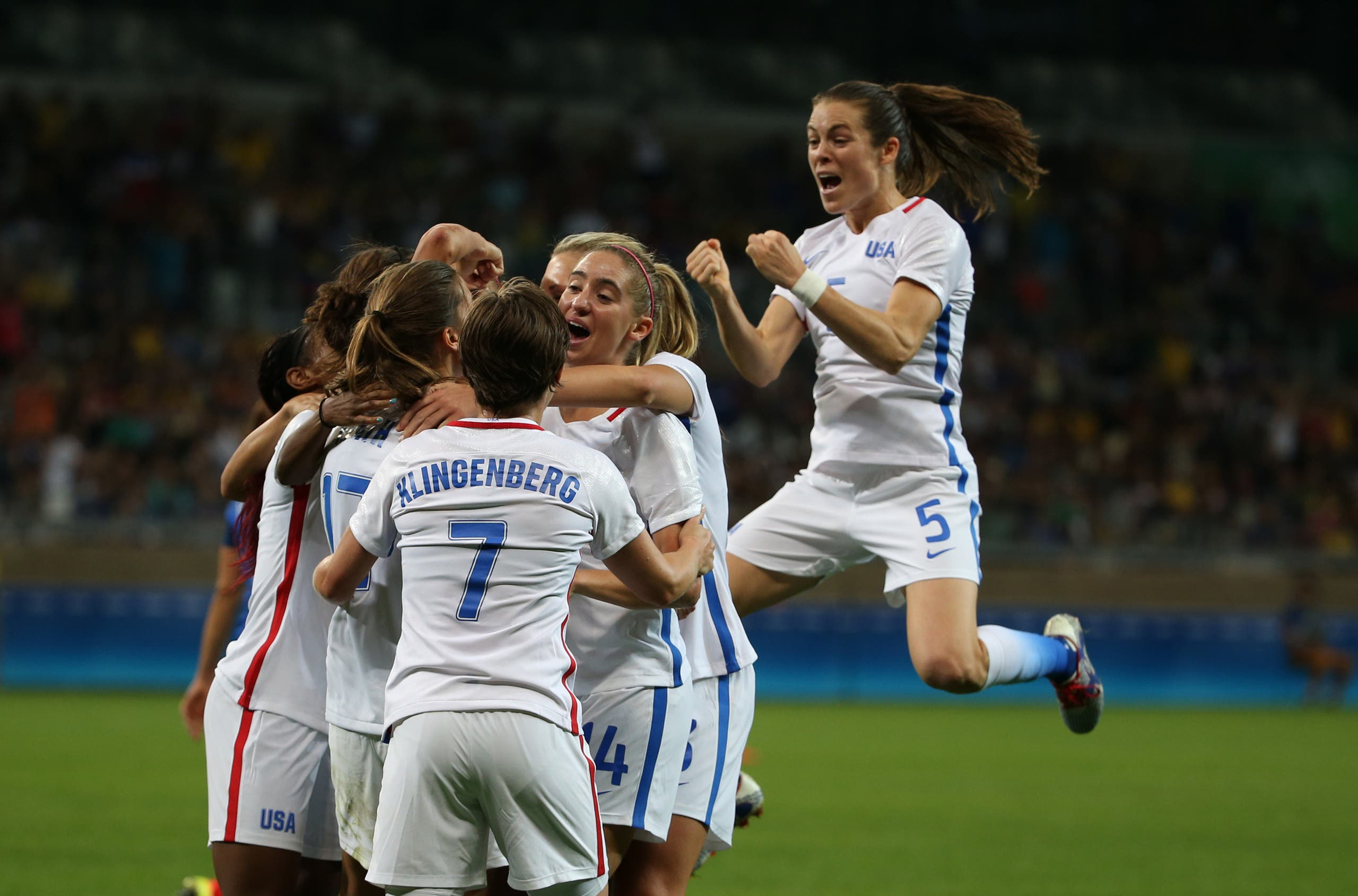 The United States Women's Olympic football team celebrate scoring during a group G match of the women's Olympic football tournament against France (Photo: AP)