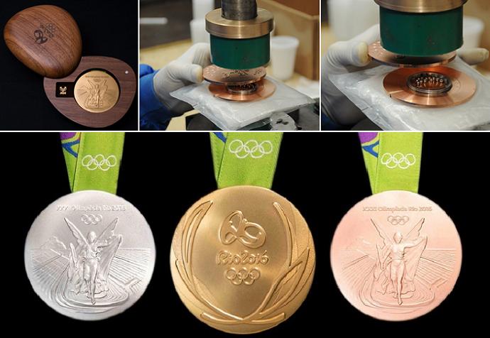 الميداليات الثلاث، برونزية إلى اليمين وذهبية ثم فضية إلى اليسار