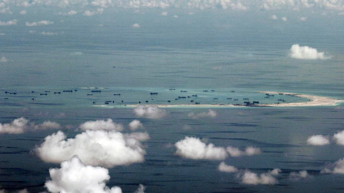 land reclamation of Mischief Reef in the Spratly Islands in the South China Sea. AP
