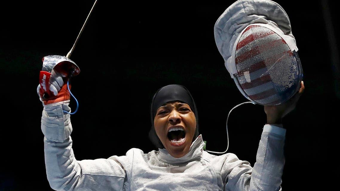 btihaj Muhammad (USA) of USA celebrates winning her match. REUTERS/