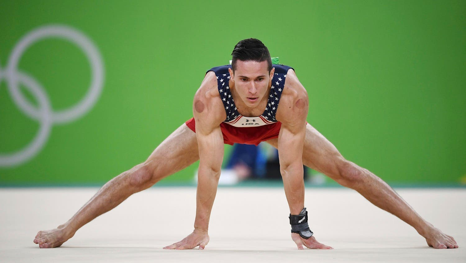 American gymnast Alexander Naddour, who has Lebanese ancestry, is also known to use cupping therapy before competing. (Reuters)