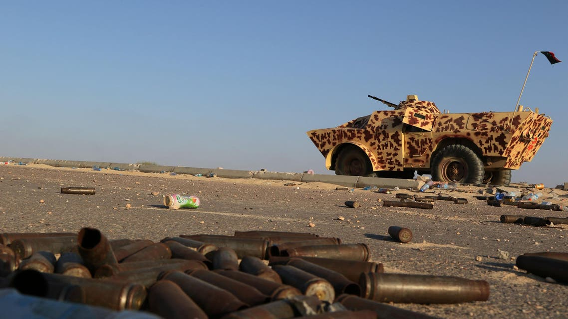 A military vehicle used by fighters from the pro-government forces loyal to Libya's Government of National Unity (GNA) is seen near ammunition casing on August 3, 2016 in Sirte during an operation against jihadists of the Islamic State (IS) group. (afp)