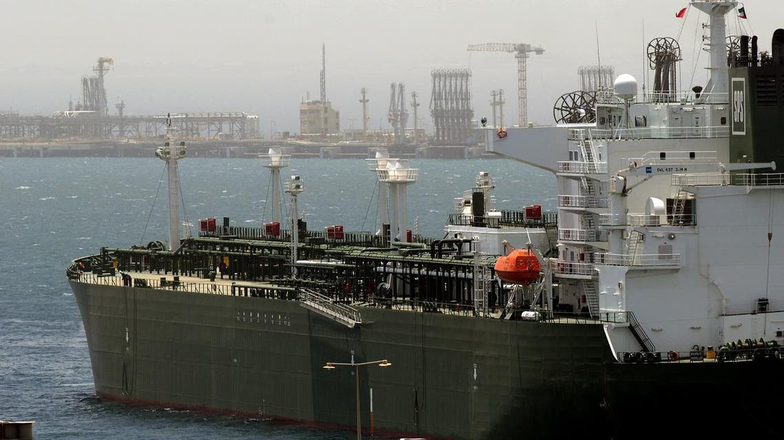 An oil tanker loading crude at Mina Al AHmadi Port, 25 miles (40 km) south of Kuwait City AP
