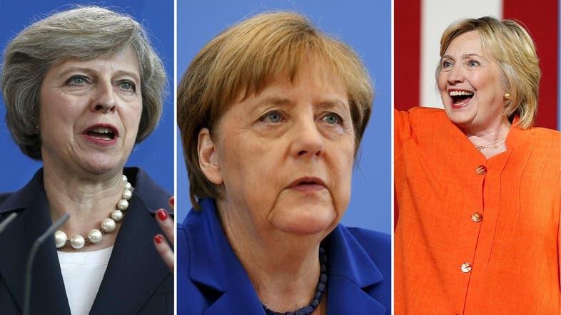 Image result for Theresa May. Angela Merkel. Ellen Johnson Sirleaf. Hillary Clinton