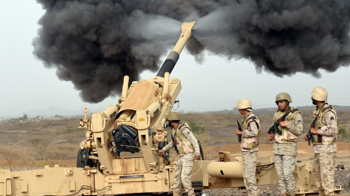 Saudi army artillery fire shells towards Yemen from a post close to the Saudi-Yemeni border. (File photo: AFP)