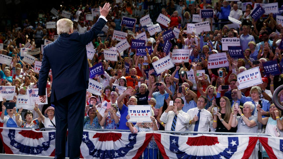Trump at North Carolina rally on August 9, 2016 (AP)