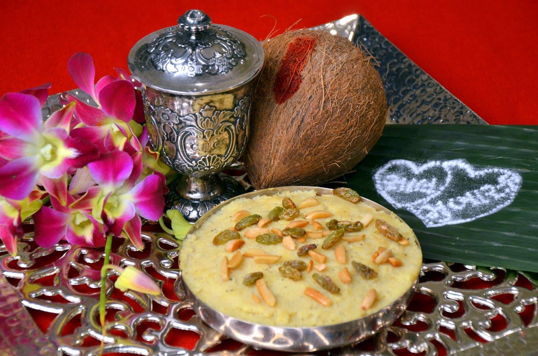 Rava on a Sagun ni Thali - Semolina and Egg Pudding Photo courtesy Sheriar Hirjkaka