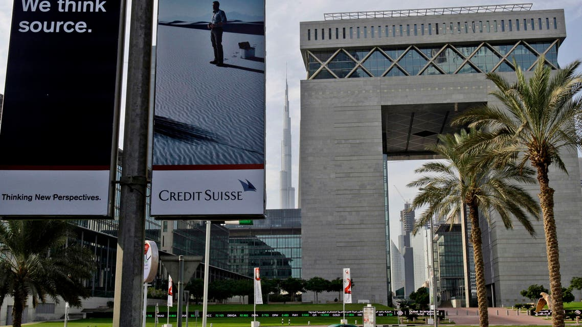 The Gate building, right, of Dubai International Financial Center, DIFC.
