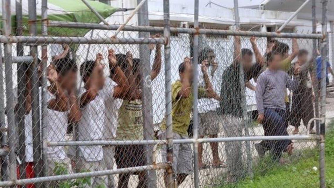 صورة لطالبي لجوء في مركز احتجاز في جزيرة مانوس في بابو غينيا