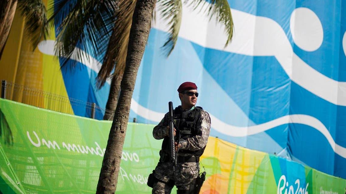 RIO 2016 A National Security Force officer patrols along Copacabana Beachs