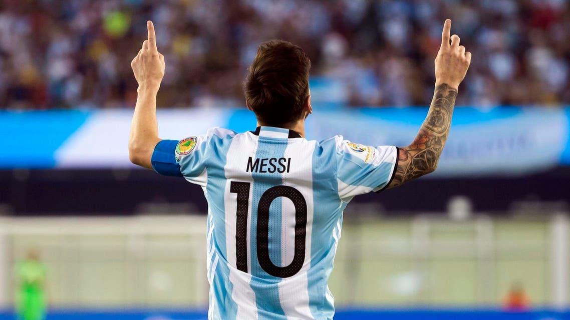 Argentina midfielder Lionel Messi (10) celebrates his goal during the second half of Argentina's 4-1 win over Venezuela in quarter-final play in the 2016 Copa America Centenario soccer tournament at Gillette Stadium. Reuters