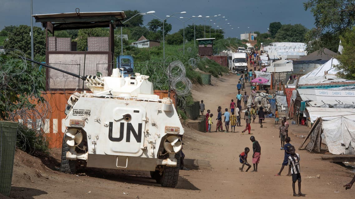 A UN armoured personnel vehicle stand in a refugee camp in Juba South Sudan. (File photo AP)