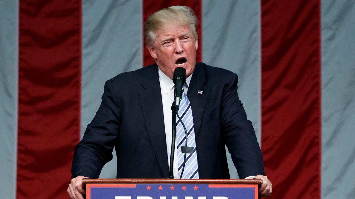 Republican presidential candidate Donald Trump speaks during a campaign rally at Sacred Heart University, Saturday, Aug. 13, 2016 AP