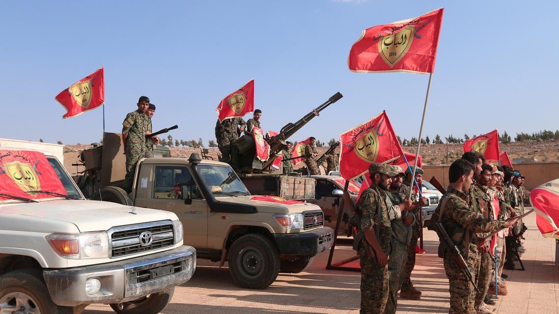قوات سوريا الديموقراطية الدموقراطية تعلن من منبج الإعداد لتحرير الباب حلب سوريا داعش