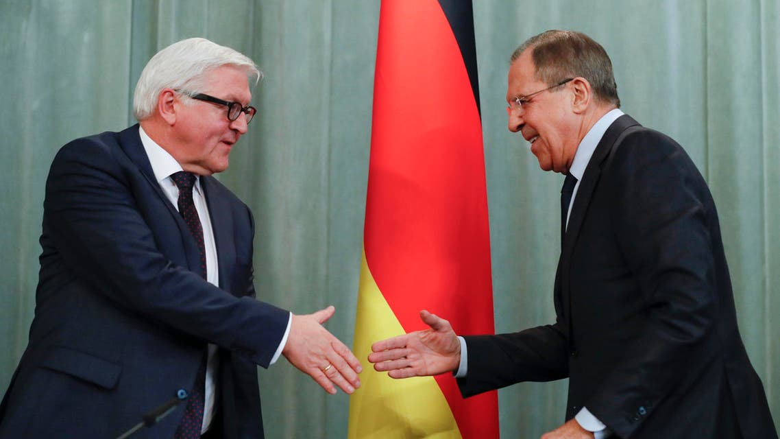 File pix of Germany's Foreign Minister Frank-Walter Steinmeier, left,  with Russian Foreign Minister Sergey Lavrov, (right), prior to a news conference in Moscow,  March 23, 2016. (AP)