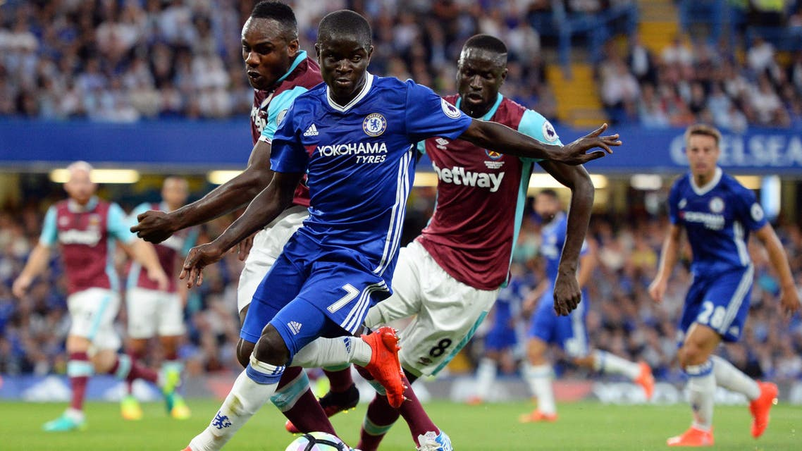 Chelsea's N'Golo Kante in action with West Ham United's Michail Antonio and Cheikhou Kouyate Action Images via Reuters
