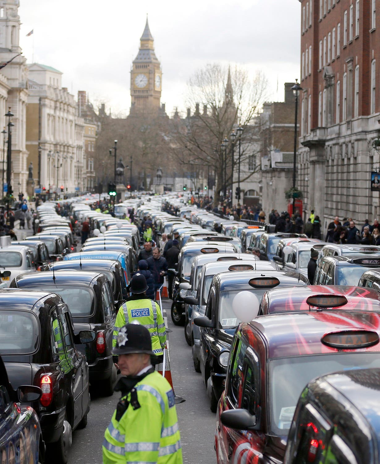 London taxis blocked the roads in central London in February as drivers were concerned with unfair competition from services such as Uber. (File photo: AP)