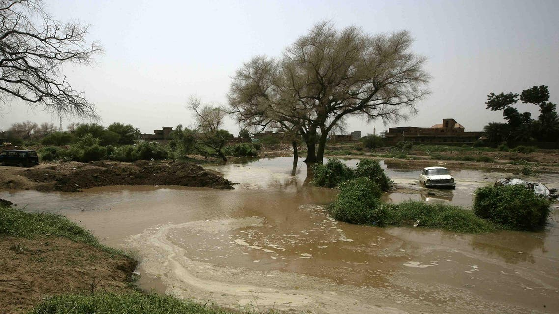 A general view taken on August 16, 2016 shows flooded water in the Sudanese capital Khartoum after heavy rainfall submerged several villages.