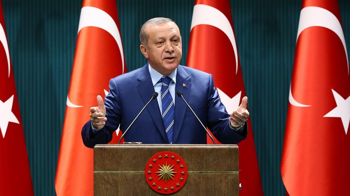 Turkish President Recep Tayyip Erdogan delivers a speech at the Presidential Palace in Ankara, Thursday, Aug. 18, 2016. AP