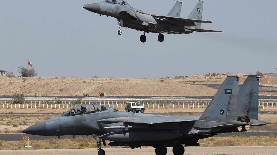 This file photo taken on November 16, 2015 shows a Saudi F-15 fighter jet landing at the Khamis Mushayt military airbase, some 880 km from the capital Riyadh, as the Saudi army conducts operations over Yemen. (AFP)