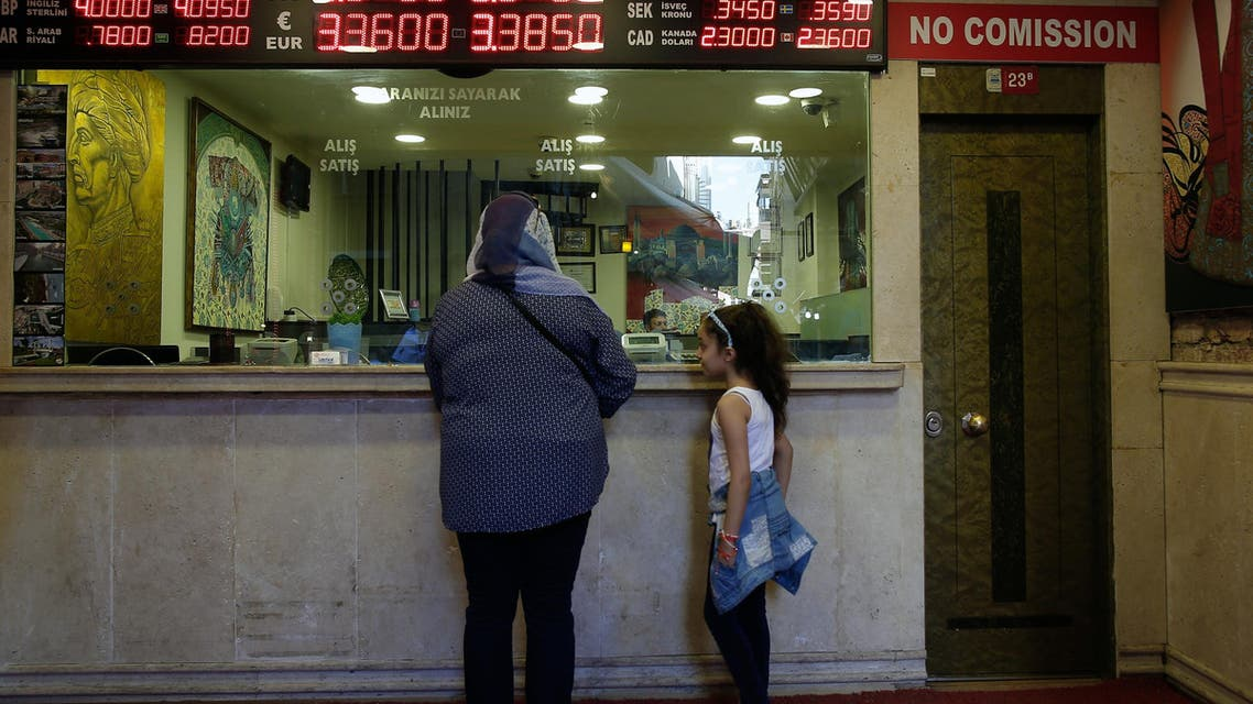 A board shows exchange rates at a foreign currency shop in central Istanbul, Thursday July 21, 2016. (File photo: AP)