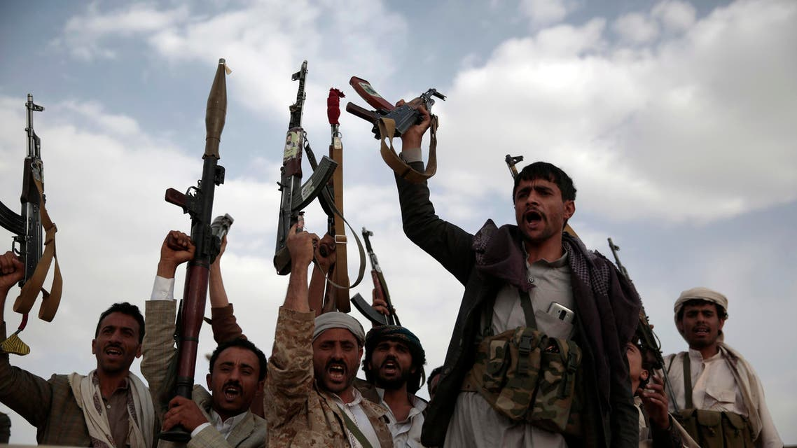 Tribesmen loyal to Houthi rebels hold their weapons during a gathering aimed at mobilizing more fighters into battlefronts in several Yemeni cities, in Sanaa, Yemen, Monday, June 20, 2016. AP