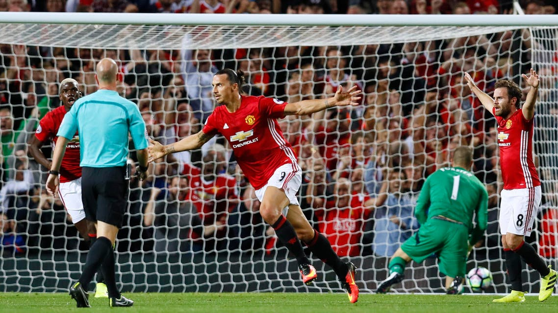 Manchester United's Zlatan Ibrahimovic celebrates scoring their first goal. REuters