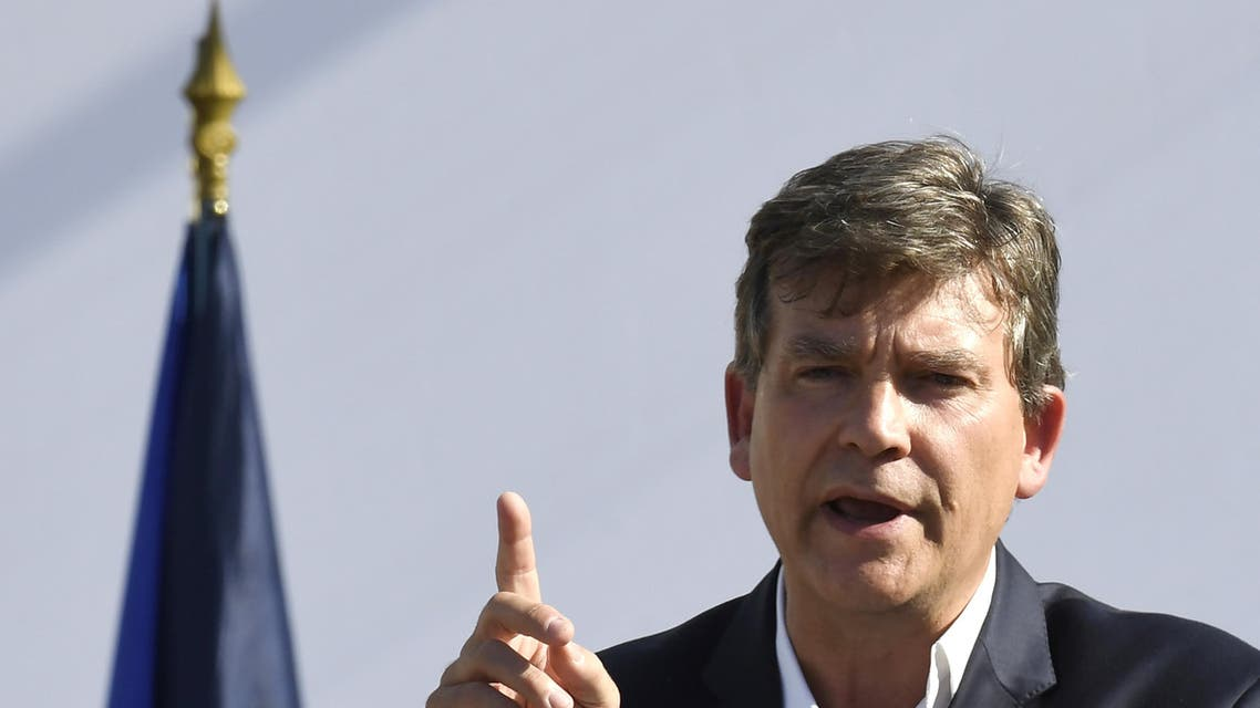 "Former French Economy Minister Arnaud Montebourg gestures as he delivers a speech during the 44th annual meeting of the French socialist party (PS) ""La fete de la Rose"", on August 21, 2016 in Frangy-en-Bresse. Arnaud Montebourg announced his candidacy for the 2017 presidential elections, on August 21, 2016 in Frangy-en-Bresse (Saône-et-Loire). He also said that his presidential project will be ""socialist but not only"" and that was impossible for him to support French President France Hollande. AFP"