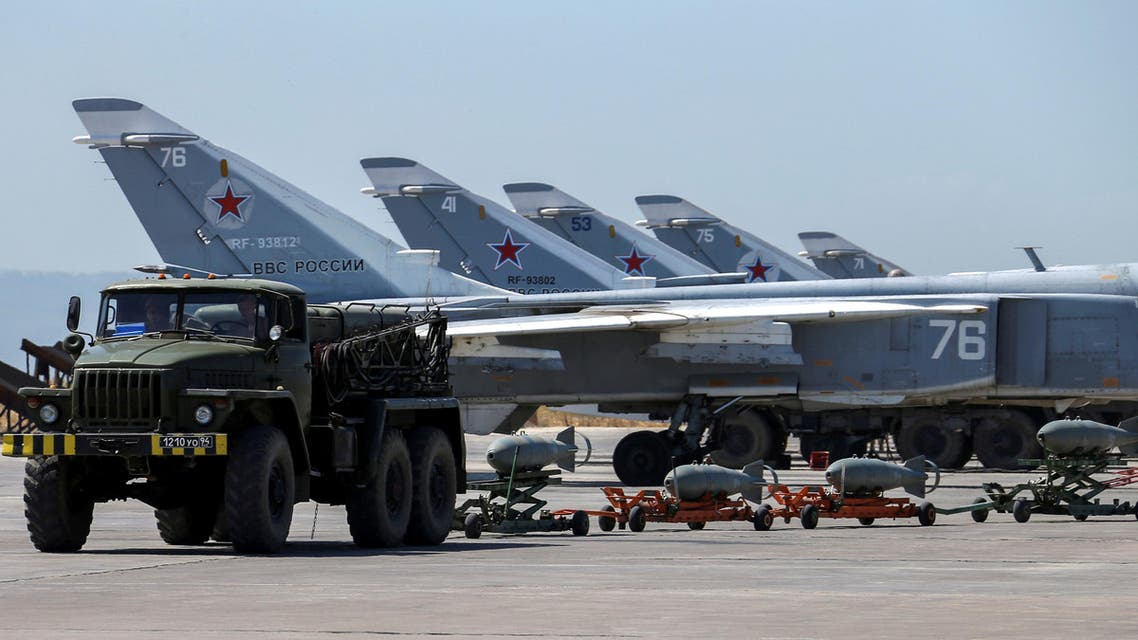Russian military jets are seen at Hmeymim air base in Syria, June 18, 2016. (Reuters)