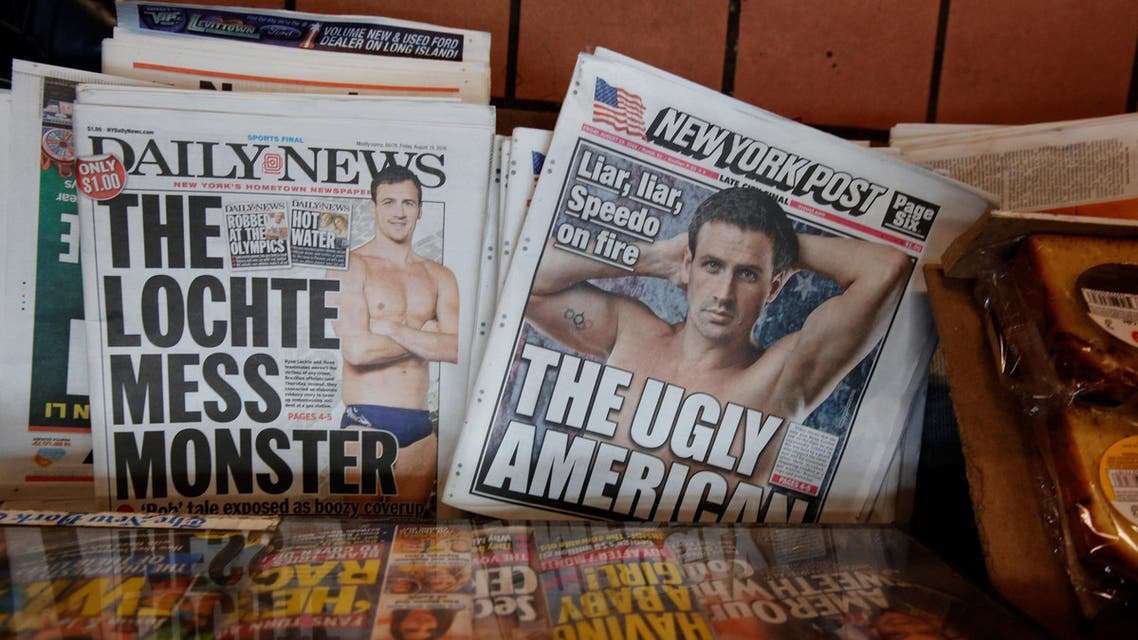 The front pages of the New York Post and the New York Daily News display the image of U.S. Olympic swimmer Ryan Lochte in New York, U.S., August 19, 2016. REUTERS
