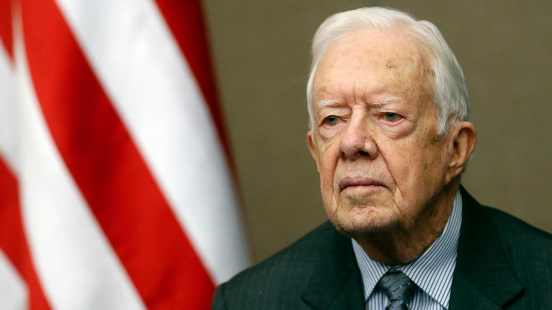 Former President Jimmy Carter smiled as he is awarded the Order of Manuel Amador Guerrero by Panamanian President Juan Carlos Varela during a ceremony at the Carter Center Thursday, Jan. 14, 2016, in Atlanta. The award, named for Panama's first president, is given to recognize distinguished people in the areas of politics, science and the arts. (AP)