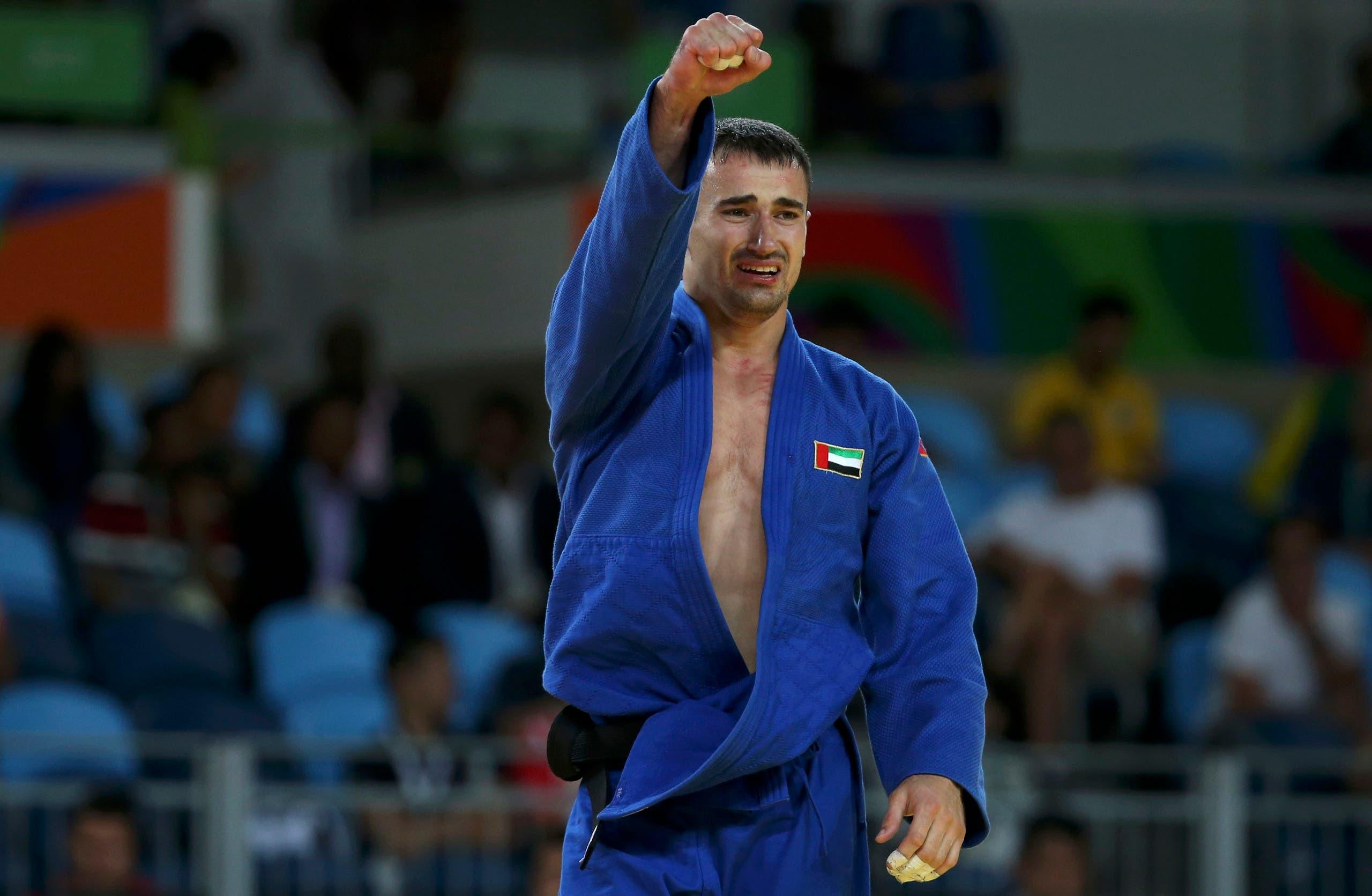 Sergiu Toma (UAE) of United Arab Emirates celebrates. (Reuters)