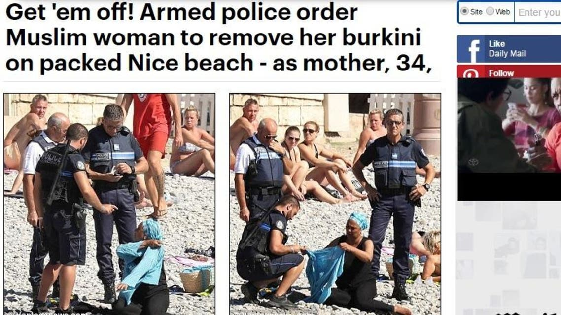 The photos, whose source is not clear, caused a furore on Twitter, where many interpreted them as the woman being forced to undress by police. (Photo screenshot: Daily Mail)
